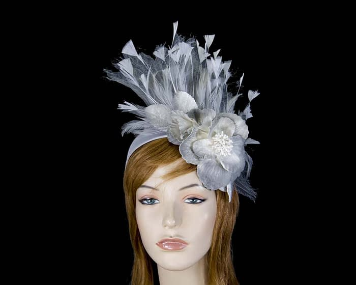 Silver feather flower racing fascinator Fascinators.com.au