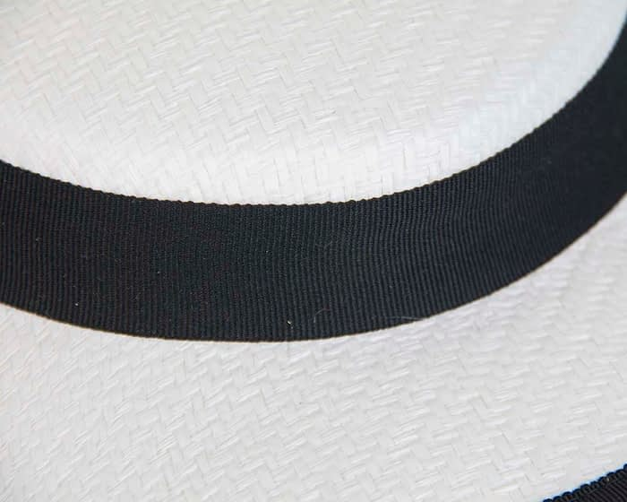White & black mini boater hat by Max Alexander Fascinators.com.au