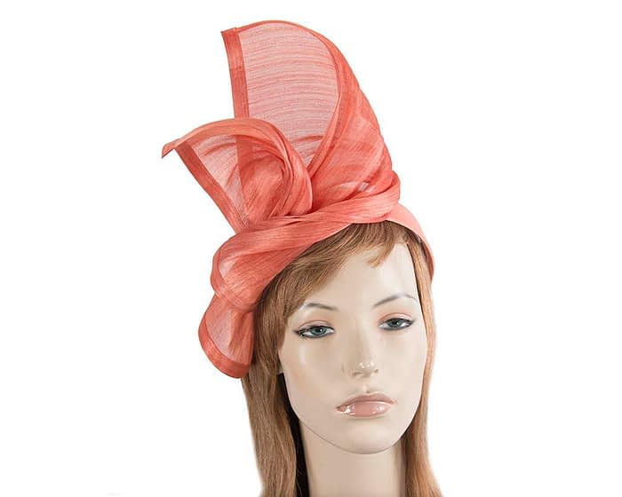 Twisted coral silk abaca fascinator by Fillies Collection Fascinators.com.au