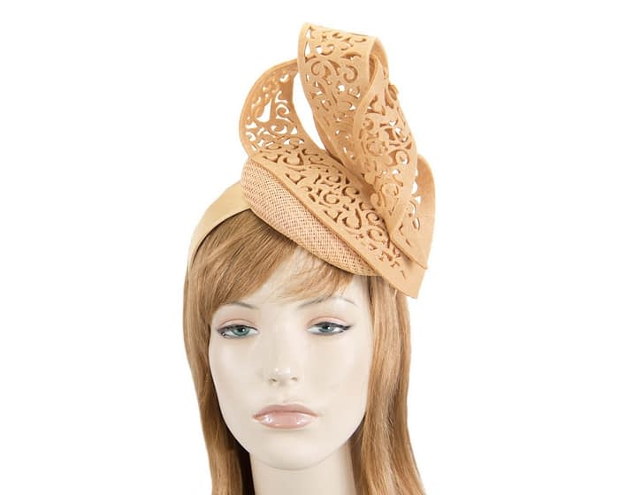 Beige pillbox fascinator with laser-cut by Fillies Collection Fascinators.com.au