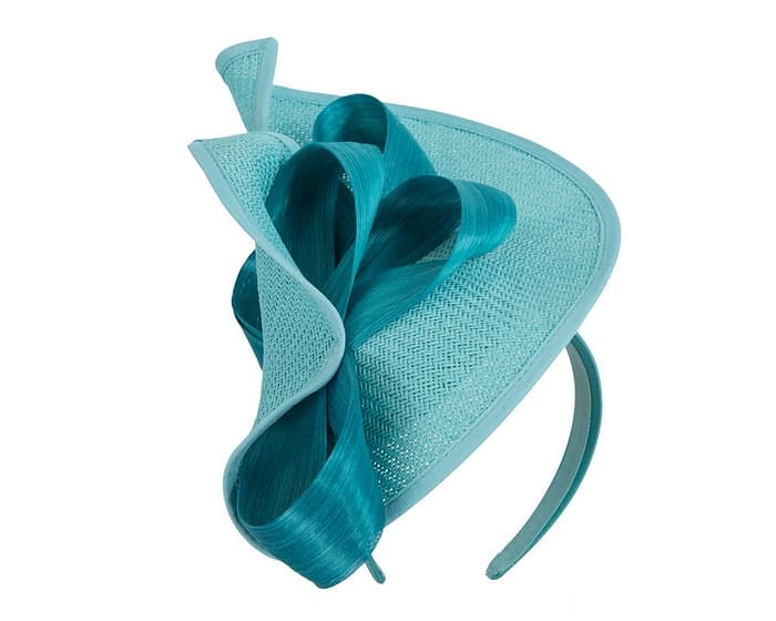 Turquoise designers racing fascinator with bow by Fillies Collection Fascinators.com.au