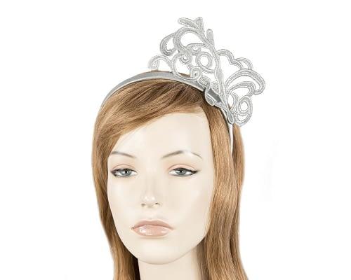 Silver lace crown fascinator Fascinators.com.au