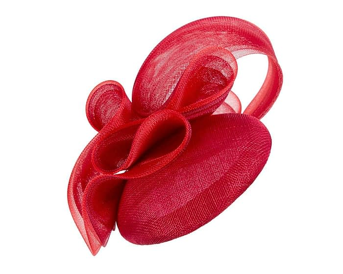 Red pillbox racing fascinator with wavy trim by Fillies Collection Fascinators.com.au