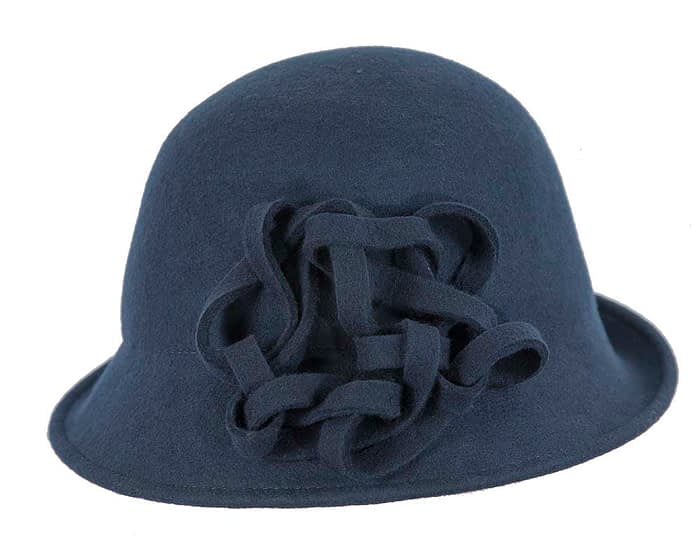 Navy felt cloche hat with original trim Fascinators.com.au