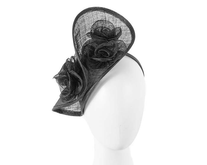 Black sinamay fascinator on headband by Max Alexander Fascinators.com.au