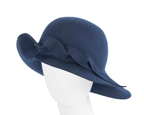 Unusual wide brim navy felt hat by Max Alexander Fascinators.com.au