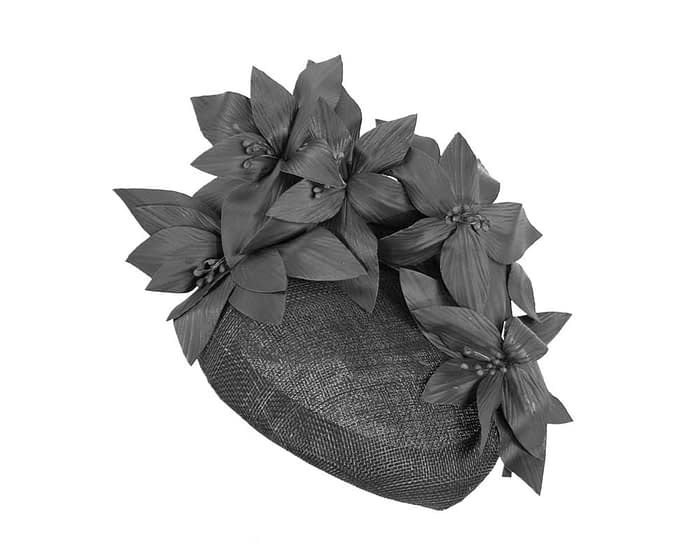 Black leather flowers pillbox by Fillies Collection Fascinators.com.au