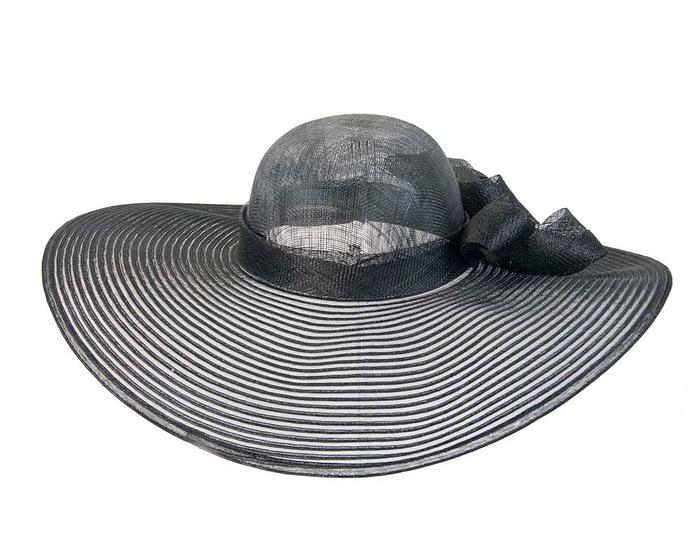 Wide brim black fashion hat Fascinators.com.au