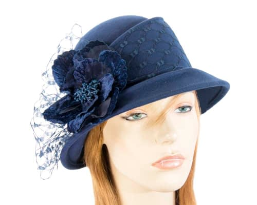 Navy ladies felt winter hat with flower F569N Fascinators.com.au