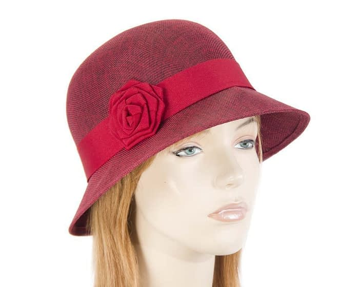 Burgundy Red spring racing cloche hat Fascinators.com.au