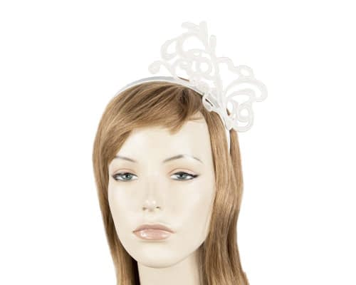 Ivory lace crown fascinator Fascinators.com.au