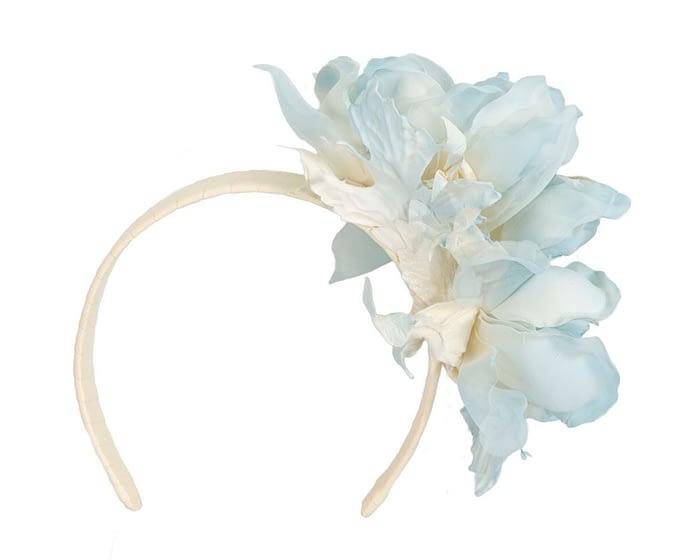 Large light blue flower headband fascinator by Fillies Collection Fascinators.com.au