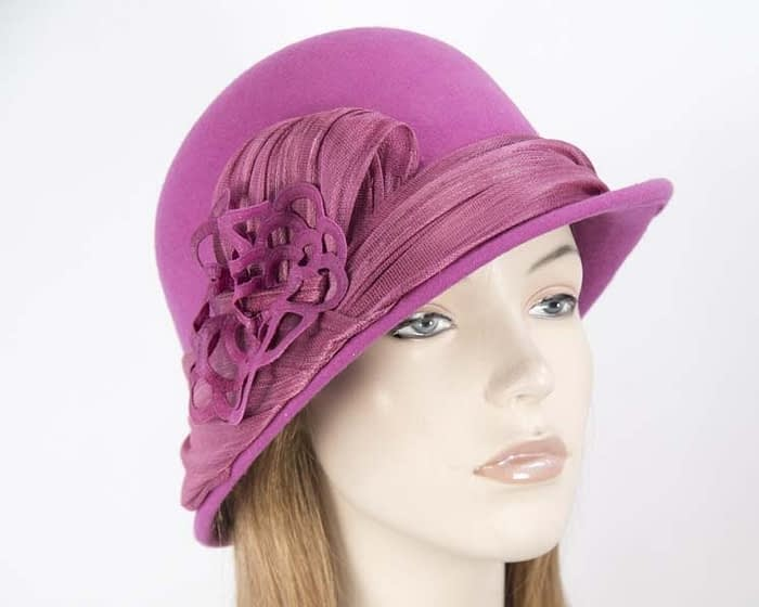 Fuchsia felt bucket hat by Fillies Collection Fascinators.com.au