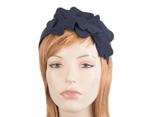 Petite navy felt halo winter fascinator by Max Alexander Fascinators.com.au