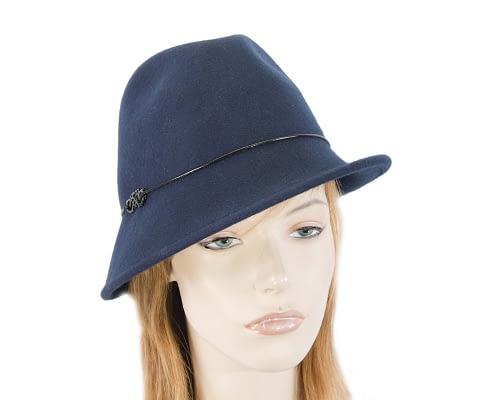 Navy winter felt trilby hat Fascinators.com.au