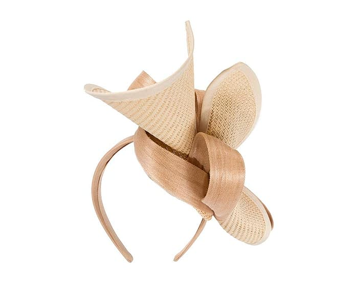 Nude designers racing fascinator with bow by Fillies Collection Fascinators.com.au