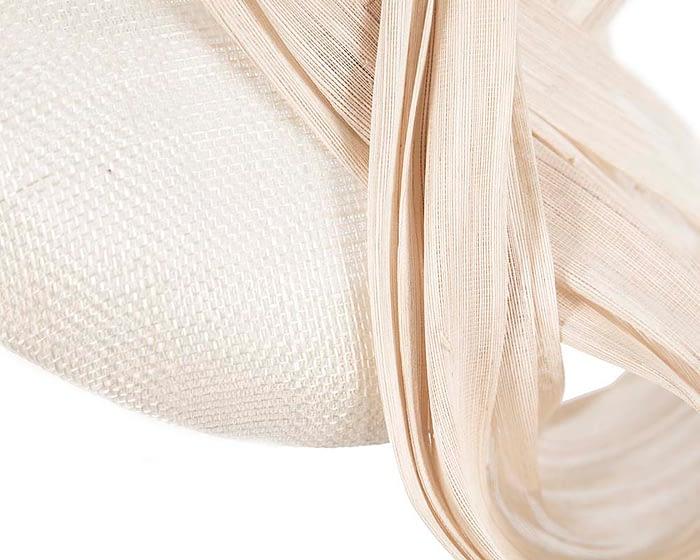 Cream pillbox silk abaca bow Fascinators.com.au