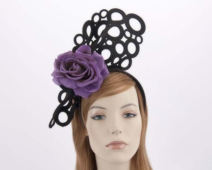 Black purple racing fascinator S140BPR Fascinators.com.au