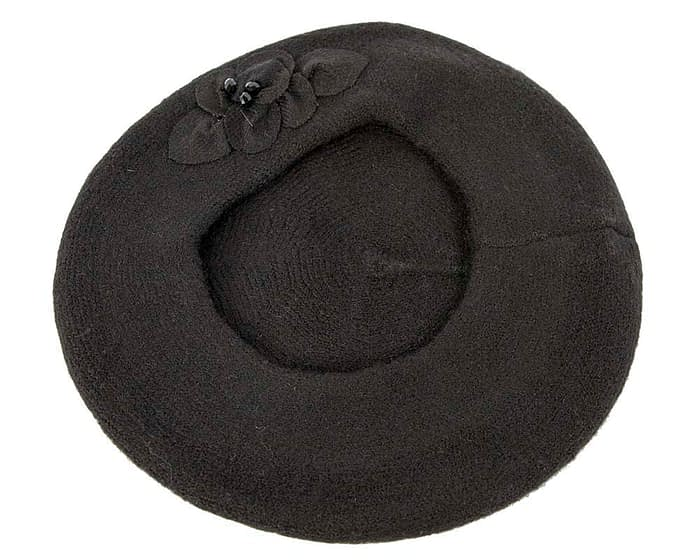 Warm black wool beret. Made in Europe Fascinators.com.au