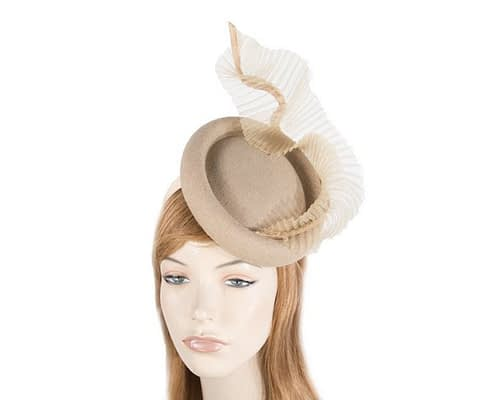 Bespoke beige winter fascinator by Fillies Collection Fascinators.com.au
