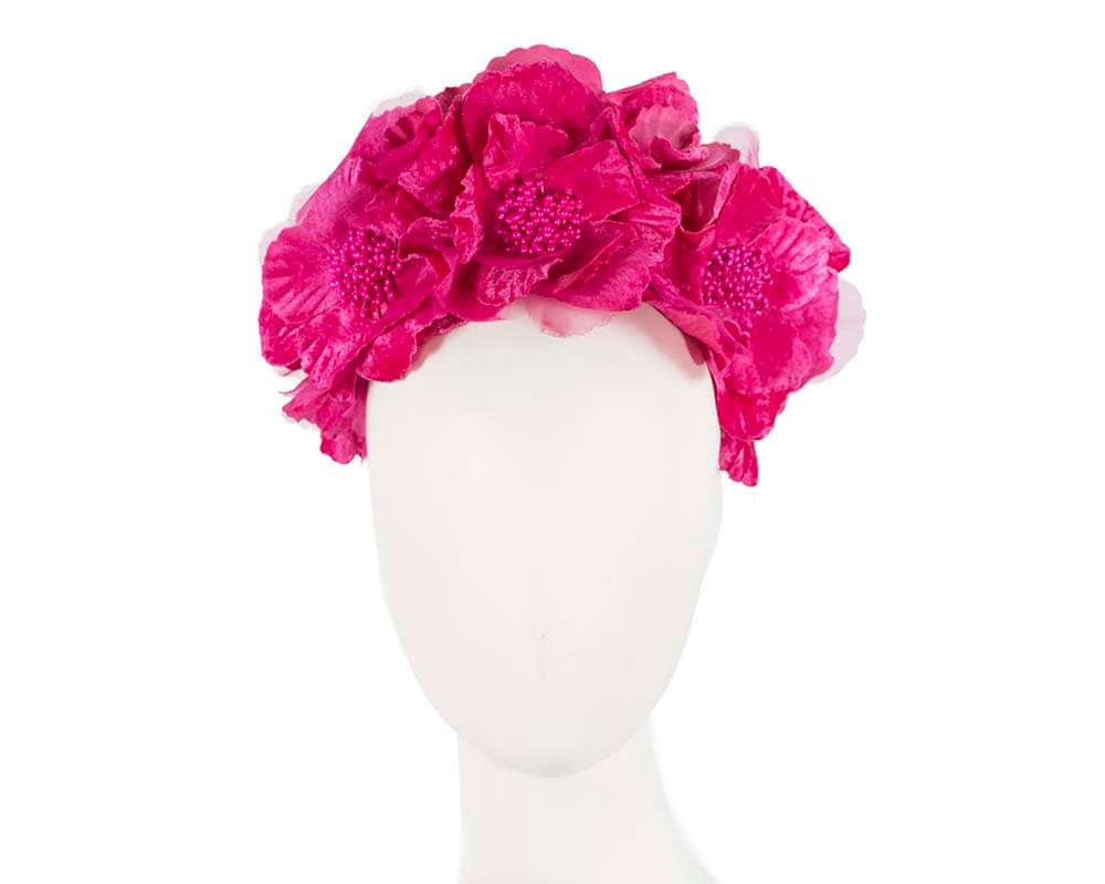 Bright Fuchsia flower halo Fascinators.com.au