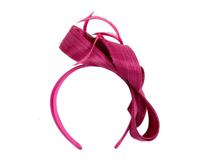 Fuchsia loops & feathers racing fascinator by Fillies Collection Fascinators.com.au