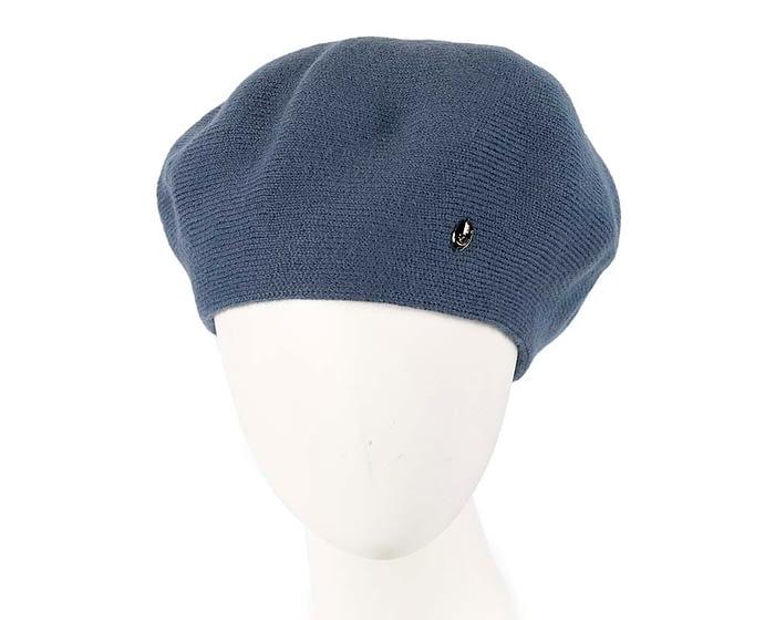 Classic warm denim blue wool beret. Made in Europe Fascinators.com.au
