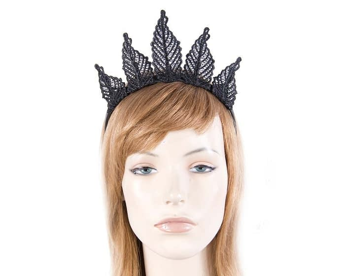 Black lace crown fascinator by Max Alexander MA674B Fascinators.com.au