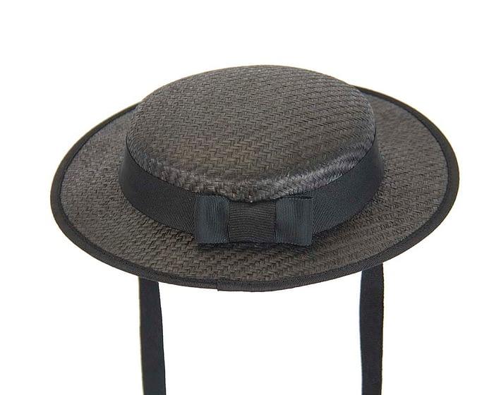 Black mini boater hat by Max Alexander Fascinators.com.au