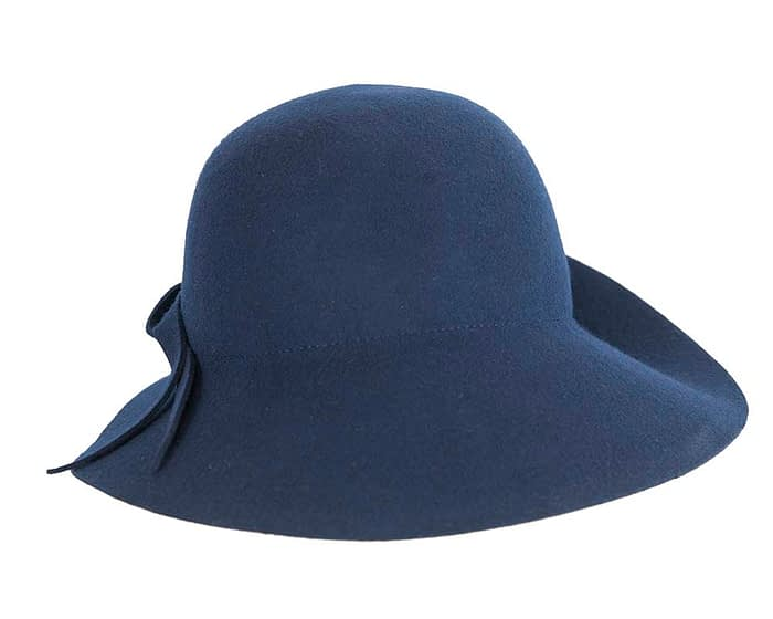 Unusual wide brim navy felt hat by Max Alexander Fascinators.com.au