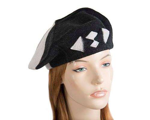 Warm grey and black woolen European Made beret Fascinators.com.au