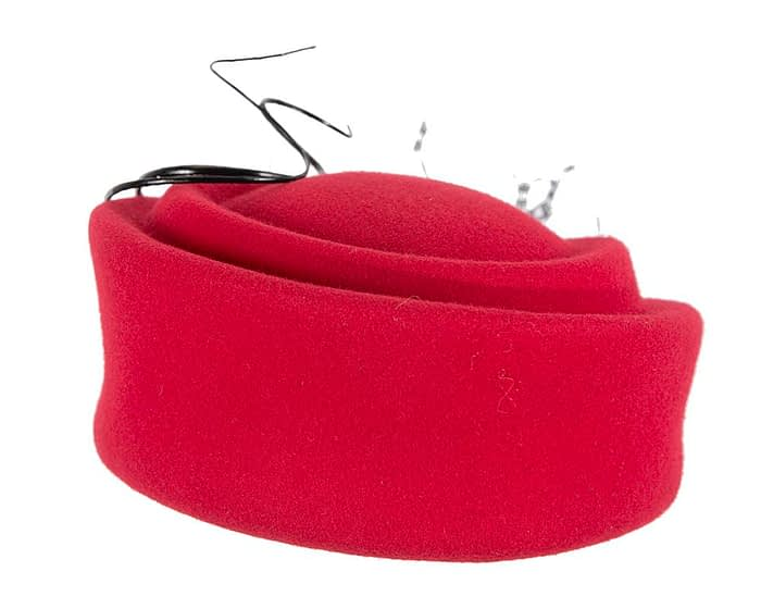 Red Jackie Onassis style felt pillbox F572R Fascinators.com.au