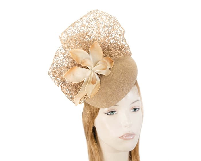Large beige winter racing fascinator beret Fascinators.com.au