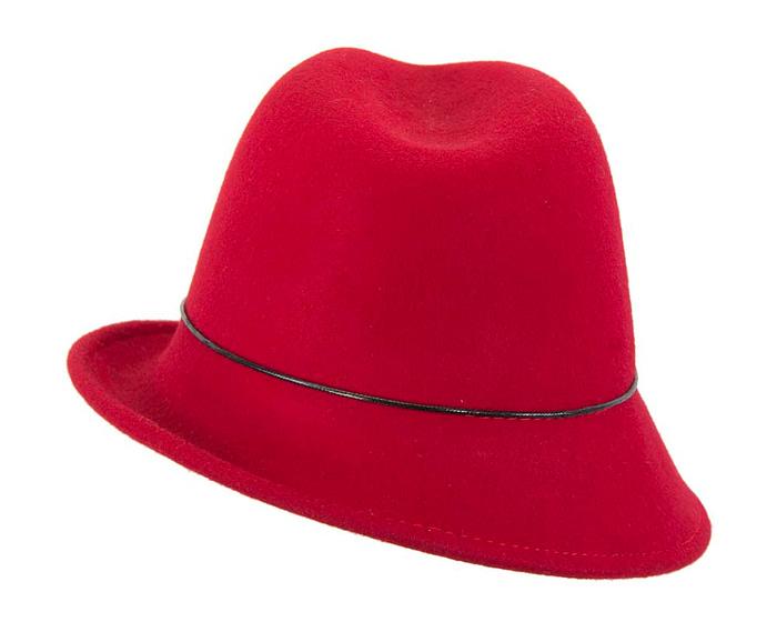 Red winter felt trilby hat Fascinators.com.au