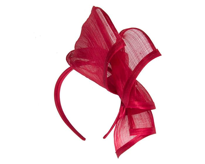 Twisted red silk abaca fascinator by Fillies Collection Fascinators.com.au
