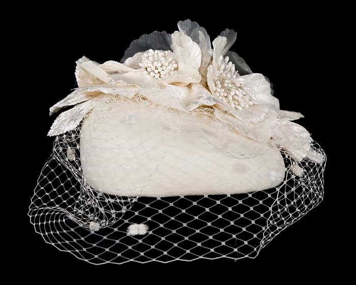 Cream winter felt pillbox with face veil by Fillies Collection Fascinators.com.au