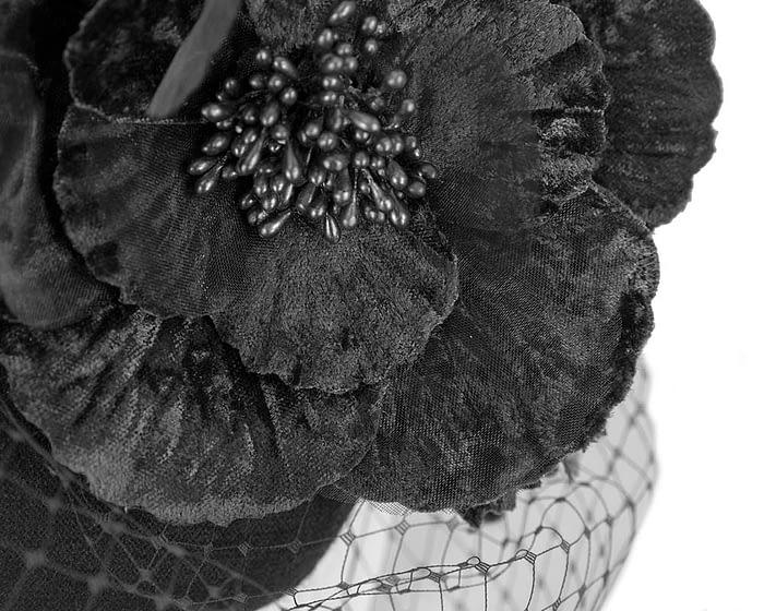 Black winter felt pillbox with face veil by Fillies Collection Fascinators.com.au