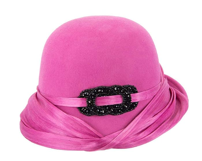 Australian made fuchsia felt bucket hat Fascinators.com.au