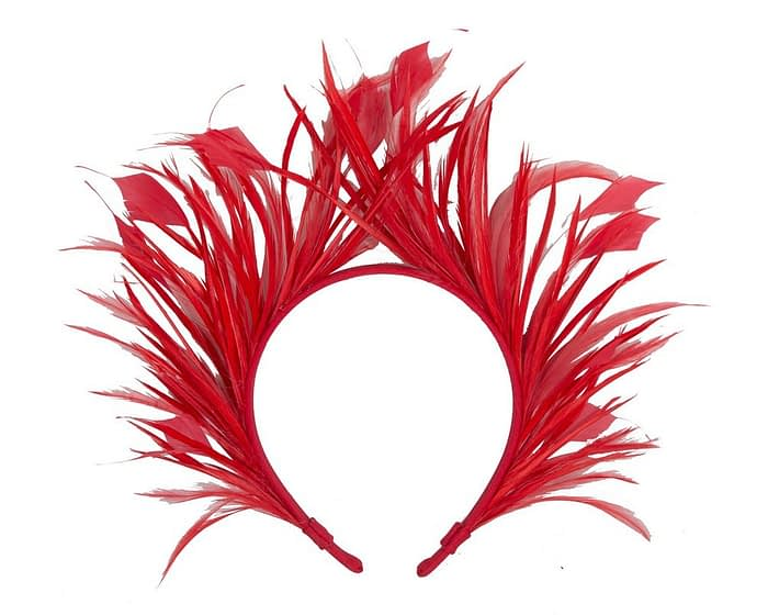 Red feather crown racing fascinator Fascinators.com.au