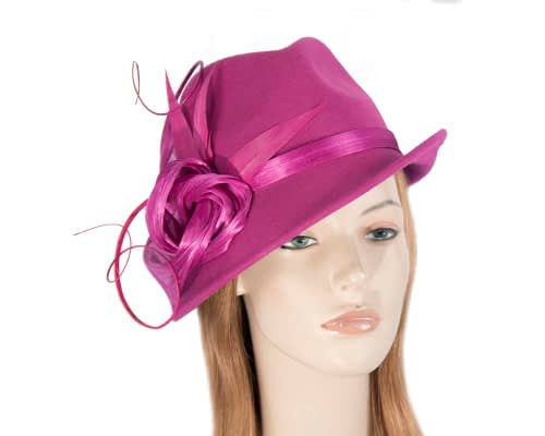 Fuchsia ladies felt trilby hat by Fillies Collection Fascinators.com.au