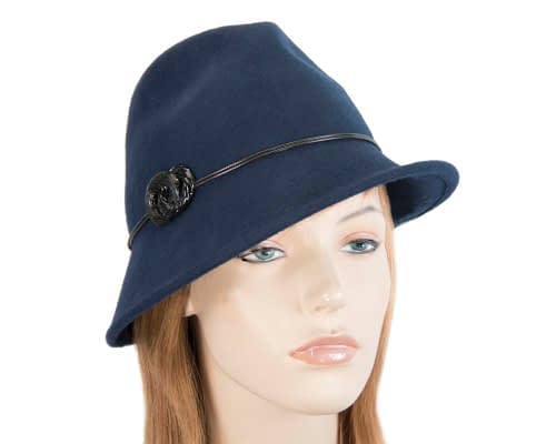 Navy ladies felt trilby hat by Max Alexander Fascinators.com.au