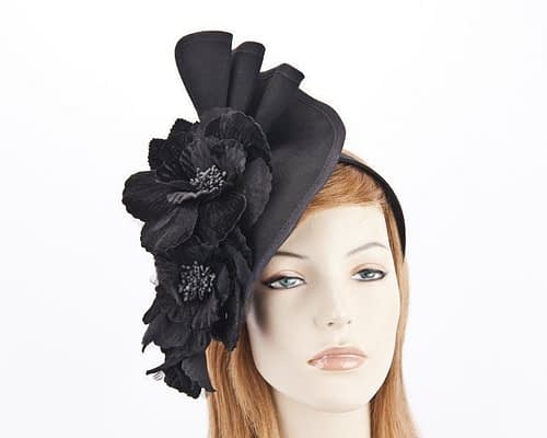 Black Fillies Collection fascinator with flowers F591B Fascinators.com.au