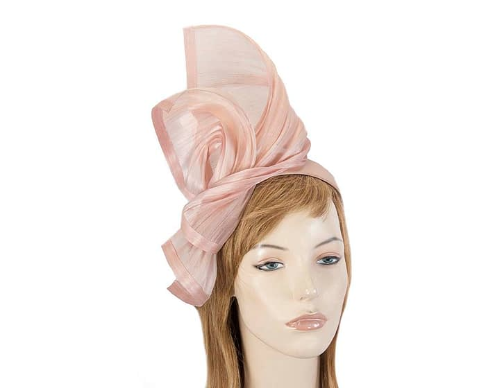 Twisted blush silk abaca fascinator by Fillies Collection Fascinators.com.au