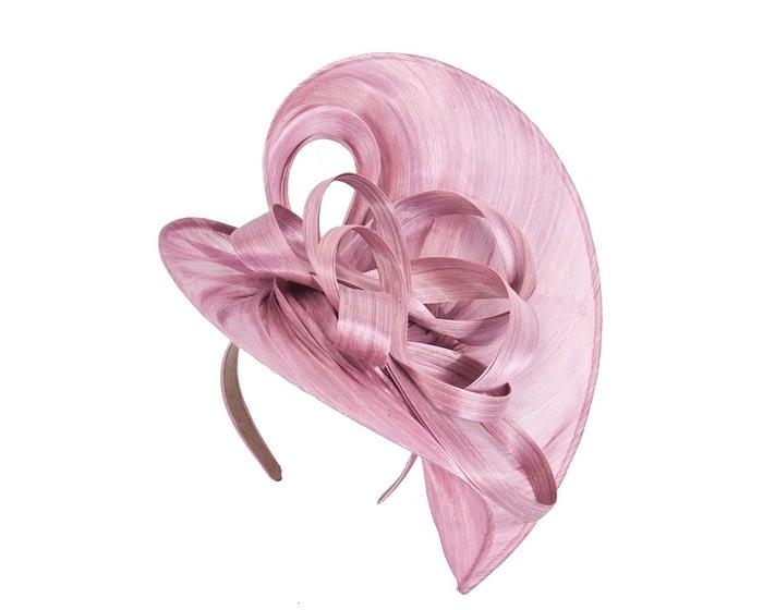 Dusty pink heart silk abaca racing fascinator Fascinators.com.au