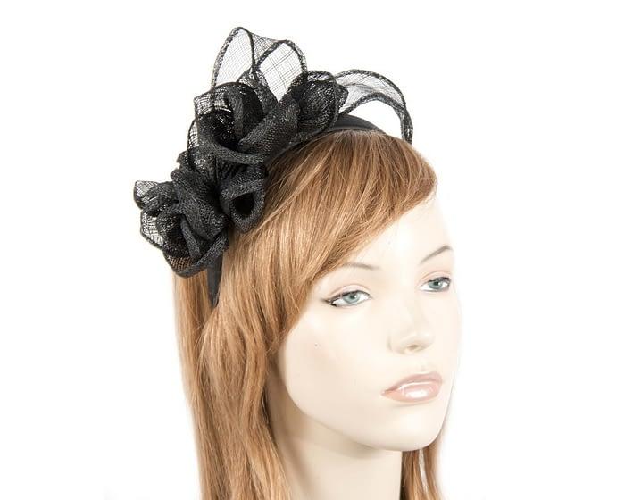 Black sinamay flowers headband Fascinators.com.au