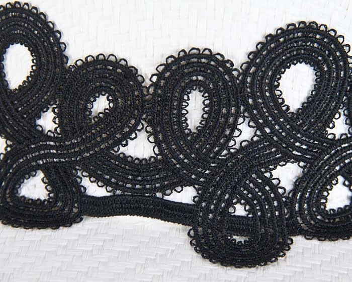 White boater black lace hat Fascinators.com.au