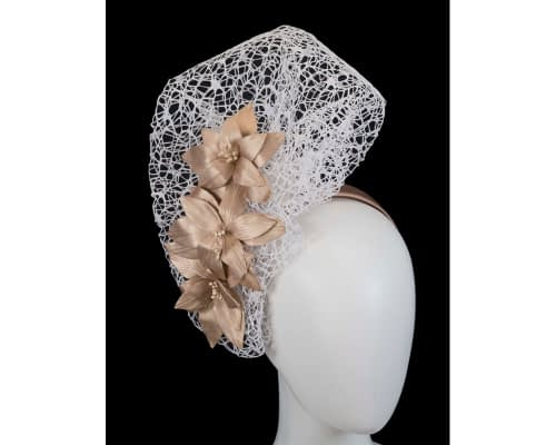 White & gold designers racing fascinator by Fillies Collection Fascinators.com.au