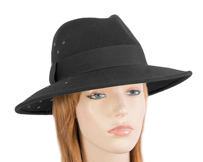Wide brim black felt fedora with studs by Max Alexander Fascinators.com.au