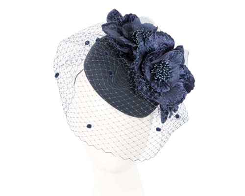 Navy winter felt pillbox with face veil by Fillies Collection Fascinators.com.au