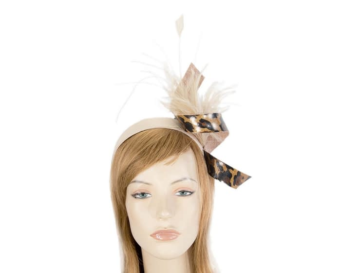 Nude & leopard twist with feathers by Filies Collection Fascinators.com.au